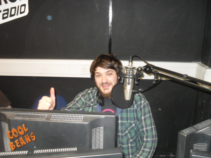 Andy behind the scenes at Forge Radio on the Cool Beans Radio Show.